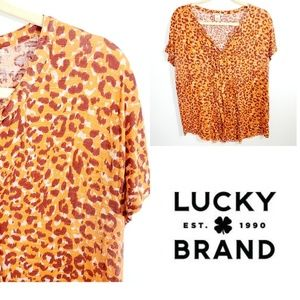 Lucky Brand Animal Print Raw Hem Blouse.  Size XL